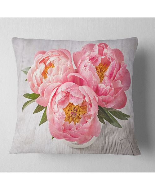 "Design Art Designart Peony Flowers On White Floor Floral Throw Pillow - 18"" X 18"""