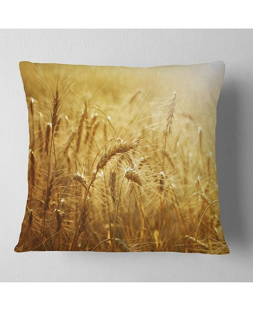 "Design Art Designart Golden Wheat Field Landscape Printed Throw Pillow - 18"" X 18"""