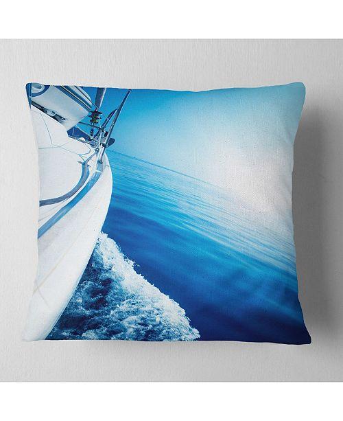 "Design Art Designart Luxury Yacht Sailing In Blue Sea Seashore Throw Pillow - 16"" X 16"""