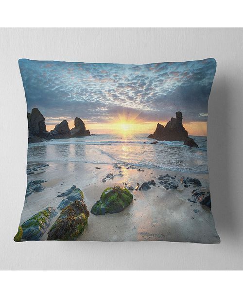"Design Art Designart Beautiful Porthcothan Bay Seashore Throw Pillow - 16"" X 16"""