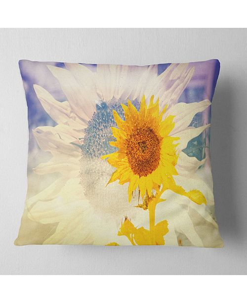 "Design Art Designart Double Exposure Yellow Sunflowers Floral Throw Pillow - 16"" X 16"""