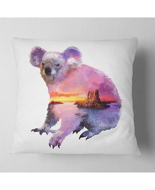 "Design Art Designart Koala Double Exposure Illustration Animal Throw Pillow - 16"" X 16"""
