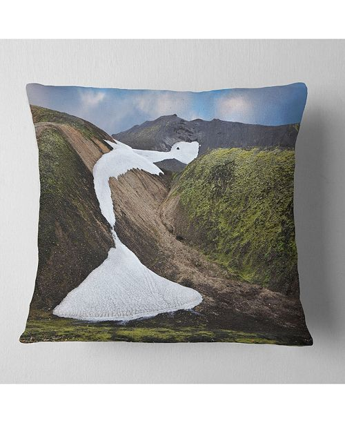 "Design Art Designart White Spots Snowfields In Gullies Landscape Printed Throw Pillow - 16"" X 16"""