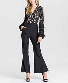 Endless Rose Lace Top Ruched Sleeve Jumpsuit