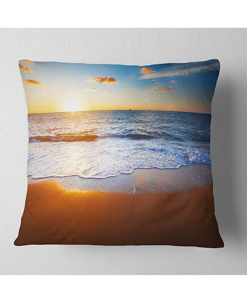 "Design Art Designart Blue Sea And Sky With Sandy Beach Seashore Throw Pillow - 18"" X 18"""