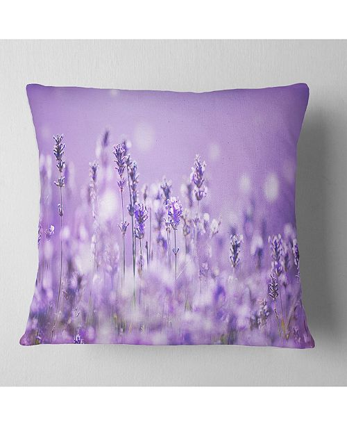 "Design Art Designart Stunning Purple Lavender Field Landscape Printed Throw Pillow - 18"" X 18"""