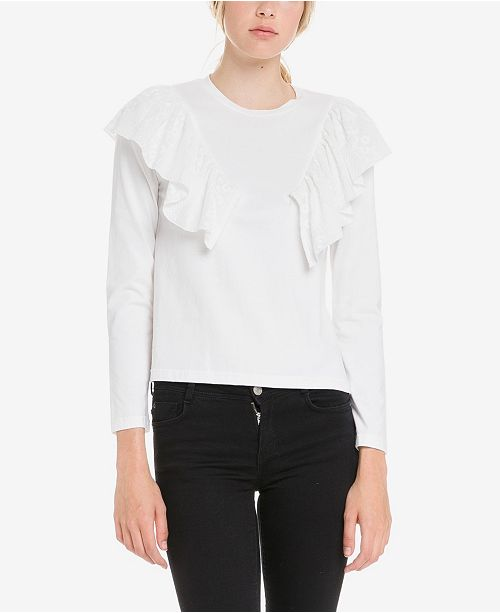 English Factory Jersey Top with Ruffle Lace Wing