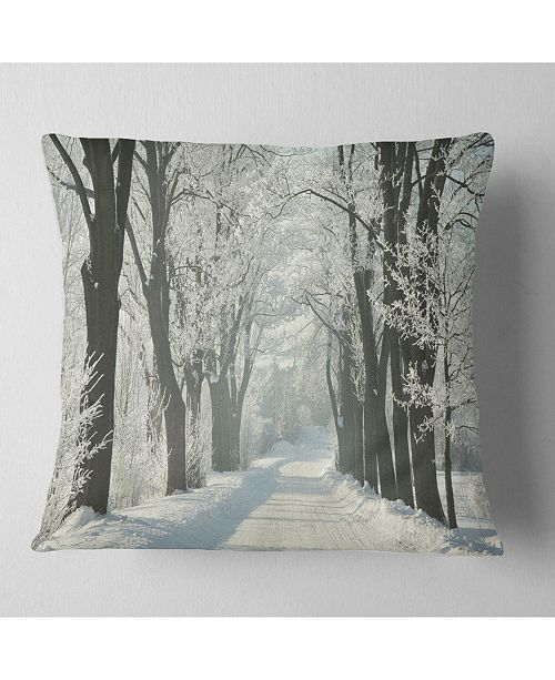 """Design Art Designart Country Road Between Foggy Trees Forest Throw Pillow - 16"""" X 16"""""""