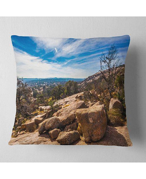"Design Art Designart Boulders Of Legendary Enchanted Rock Landscape Printed Throw Pillow - 18"" X 18"""