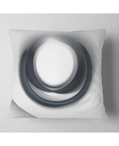 "Design Art Designart Large Fractal Black Circle On White Abstract Throw Pillow - 18"" X 18"""