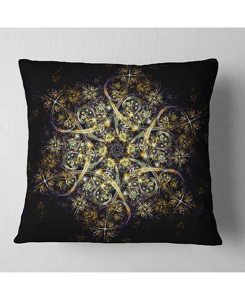 """Design Art Designart Black Yellow Fractal Flower Pattern Abstract Throw Pillow - 16"""" X 16"""""""