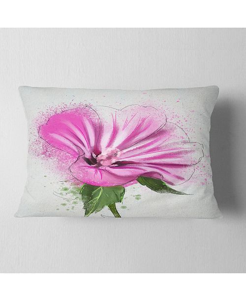 """Design Art Designart Full Bloom Pink Flower With Leaves Floral Throw Pillow - 12"""" X 20"""""""