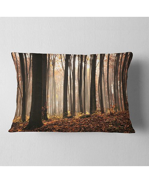"Design Art Designart Dark Thick Woods In Fall Forest Modern Forest Throw Pillow - 12"" X 20"""