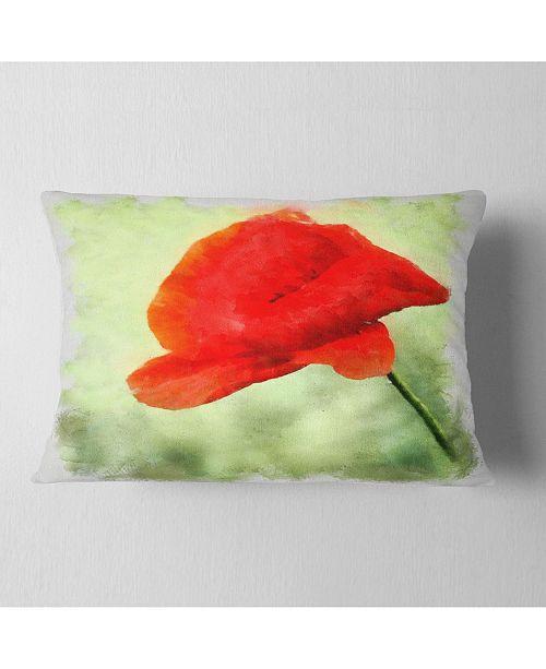 "Design Art Designart Big Red Poppy Flower Watercolor Floral Throw Pillow - 12"" X 20"""