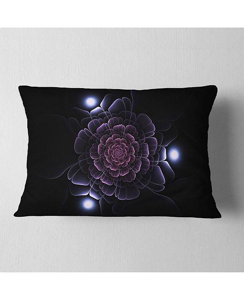 "Design Art Designart Purple Fractal Flower On Dark Floral Throw Pillow - 12"" X 20"""