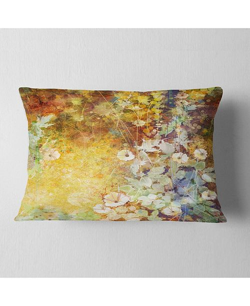 "Design Art Designart Little Flowers With Soft Green Leaves Floral Throw Pillow - 12"" X 20"""