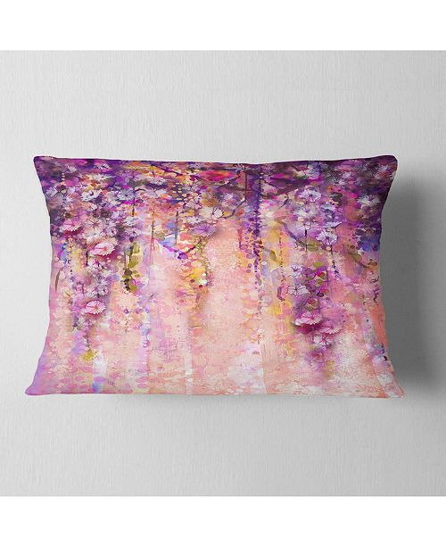 """Design Art Designart Pink And Violet Flowers Watercolor Floral Throw Pillow - 12"""" X 20"""""""