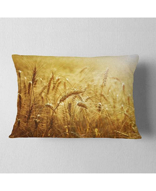 "Design Art Designart Golden Wheat Field Landscape Printed Throw Pillow - 12"" X 20"""