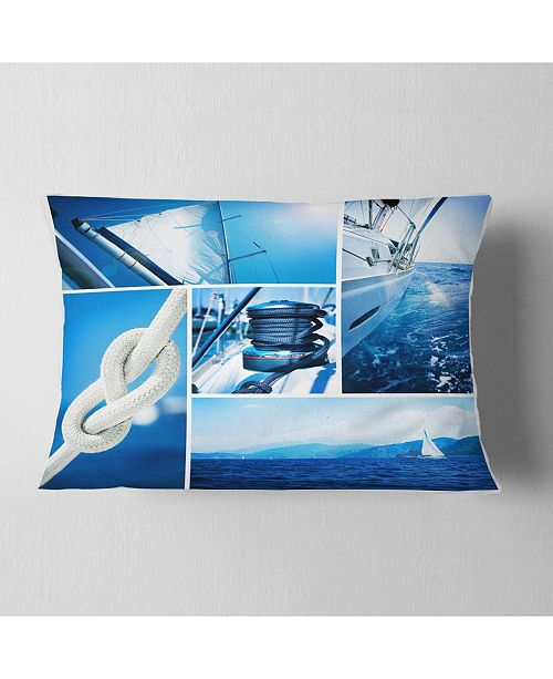 "Design Art Designart Sailing Yacht In Blue Sea Collage Seashore Throw Pillow - 12"" X 20"""