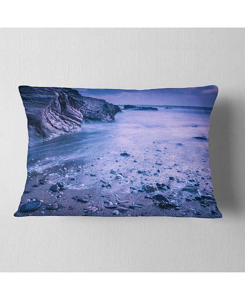 "Design Art Designart Calm Time Lapse On Beach At Sunset Seashore Throw Pillow - 12"" X 20"""