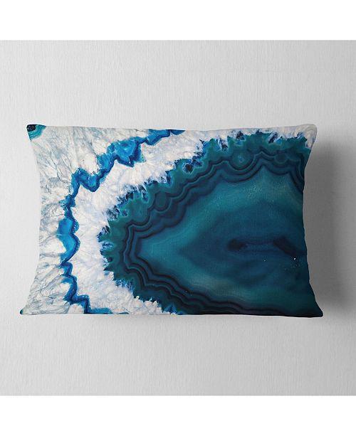 """Design Art Designart Blue Brazilian Geode Abstract Throw Pillow - 12"""" X 20"""""""