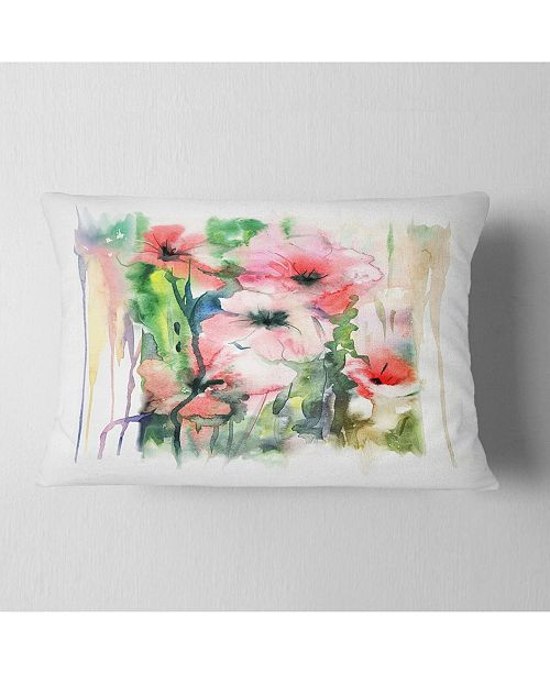 "Design Art Designart Pink Floral Watercolor Illustration Animal Throw Pillow - 12"" X 20"""