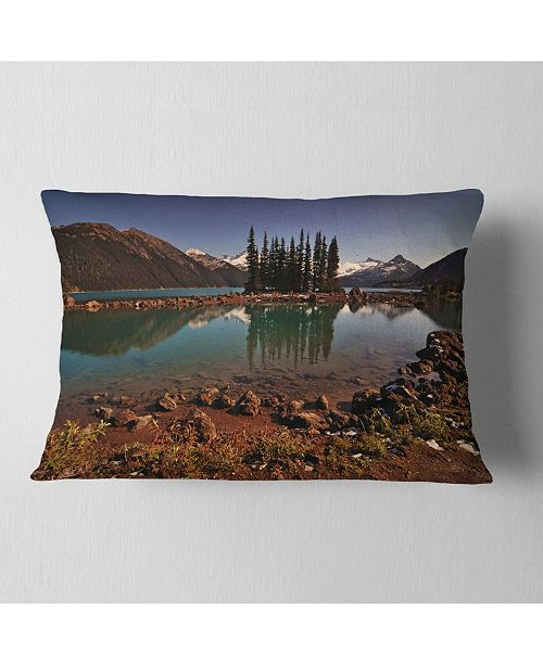 "Design Art Designart Lake And Pine Trees In Evening Landscape Printed Throw Pillow - 12"" X 20"""