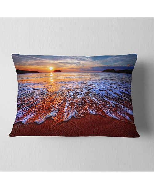 """Design Art Designart Colorful Sunset With Bright Waters Seashore Throw Pillow - 12"""" X 20"""""""