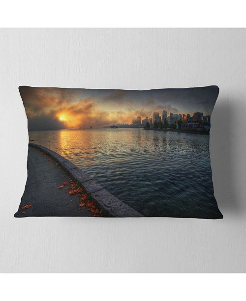 "Design Art Designart Tranquil Vancouver Downtown View Landscape Printed Throw Pillow - 12"" X 20"""