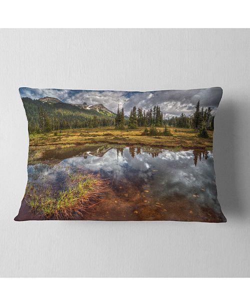 "Design Art Designart Shallow Lake Under Cloudy Sky Landscape Printed Throw Pillow - 12"" X 20"""