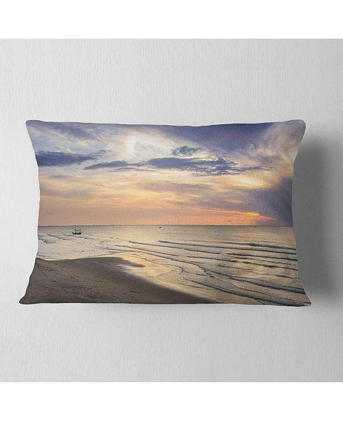 "Design Art Designart Calm Sunset In Thailand Beach Landscape Printed Throw Pillow - 12"" X 20"""