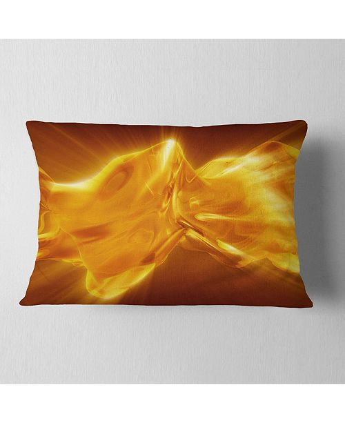 "Design Art Designart Plasmas And Liquid With Fiery Shine Abstract Throw Pillow - 12"" X 20"""