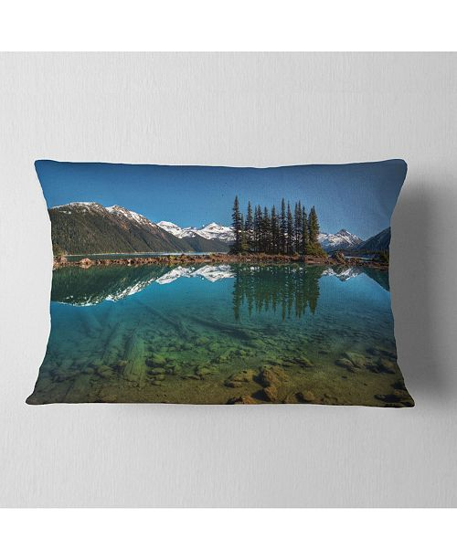 "Design Art Designart Row Of Pine Trees And Mountain Lake Landscape Printed Throw Pillow - 12"" X 20"""