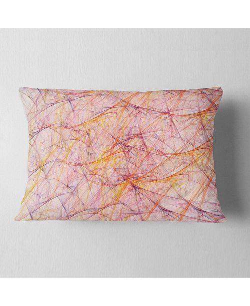 """Design Art Designart Mystic Pink Fractal Veins Abstract Throw Pillow - 12"""" X 20"""""""