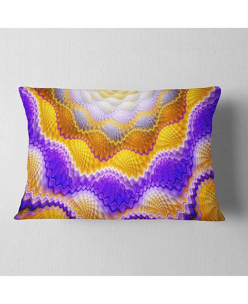 """Design Art Designart Blue Yellow Snake Skin Flower Abstract Throw Pillow - 12"""" X 20"""""""