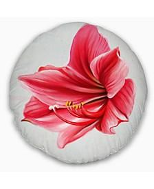 "Designart Big Red Flower Sketch On White Floral Throw Pillow - 16"" Round"