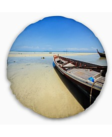 "Designart Traditional Thai Boat On Beach Seashore Throw Pillow - 16"" Round"