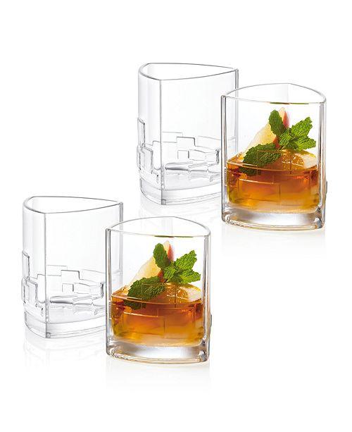 JoyJolt Revere Triangle Double Old Fashioned Glasses, Set of 4