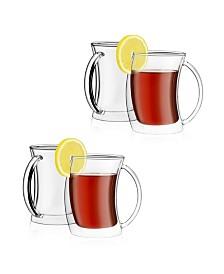JoyJolt Caleo Double Wall Insulated Tea Glasses, Set of 4