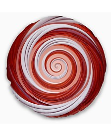 "Designart Christmas Candy Cane Spiral Abstract Throw Pillow - 16"" Round"