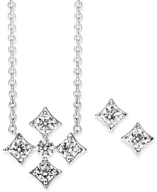 "Cubic Zirconia Pendant Necklace & Stud Earrings Set, 16"" + 1"" extender, Created for Macy's"