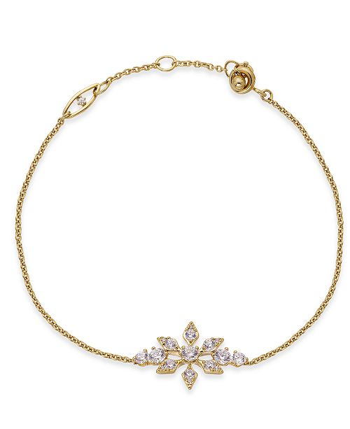 Eliot Danori 18k Gold-Plated Crystal Snowflake Link Bracelet, Created For Macy's