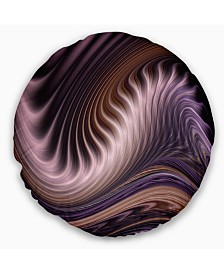 "Designart Purple Waves Fractal Wall Art Abstract Throw Pillow - 20"" Round"