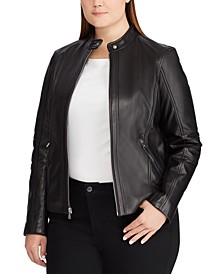 Plus Size Band-Collar Leather Moto Jacket