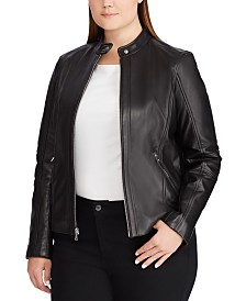 Lauren Ralph Lauren Plus Size Band-Collar Leather Moto Jacket