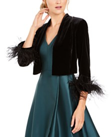 Calvin Klein Faux Feather & Velvet Shrug