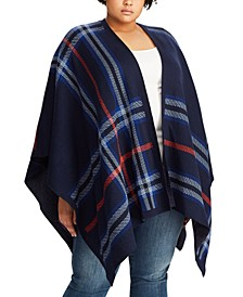 Plus Size Plaid-Print Poncho Sweater