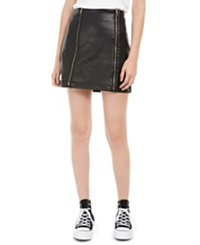 Love, Fire Juniors' Faux-Leather Zipper Mini Skirt