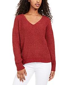 Juniors' Chenille V-Neck Sweater