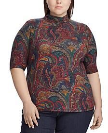 Lauren Ralph Lauren Plus Size Paisley-Print Stretch Turtleneck Top